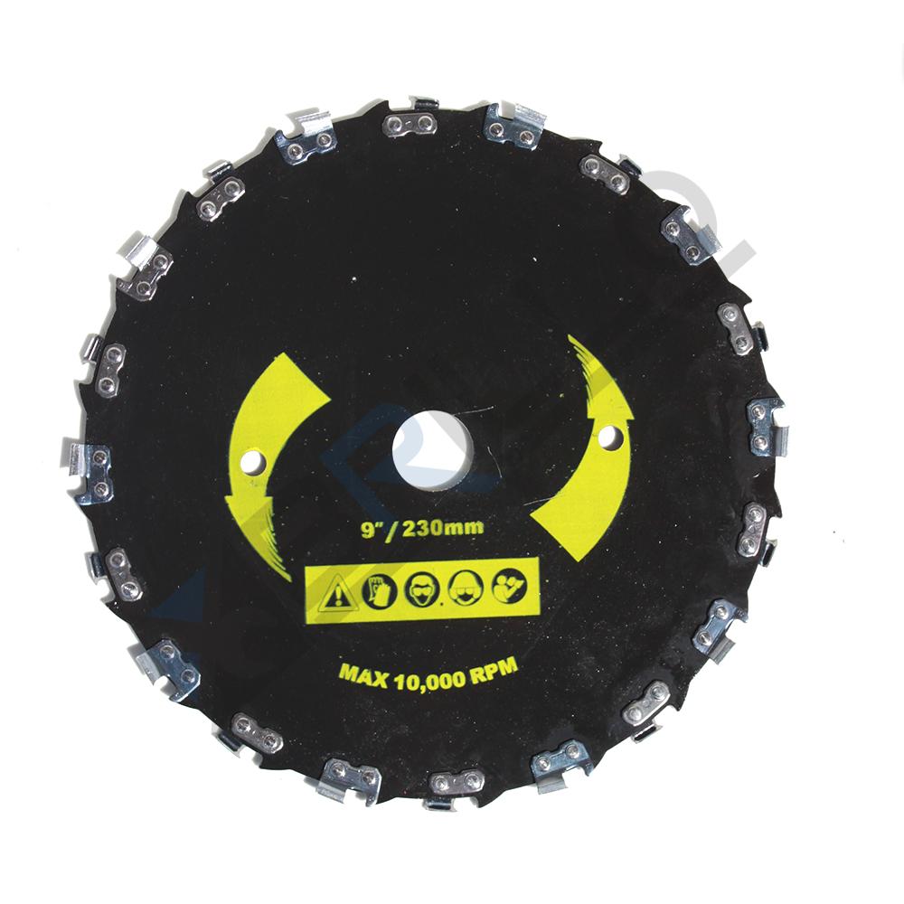 Disc motocoasa circular cu dinti tip lant drujba