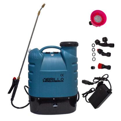 Pompa de stropit Brillo, cu baterie, cu manometru, 16 litri